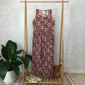 Vintage 90s Pink Floral Button Bow Pocket Jumpsuit